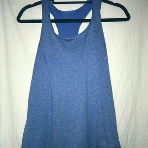 Blue Semi Fitted Workout Tank Top